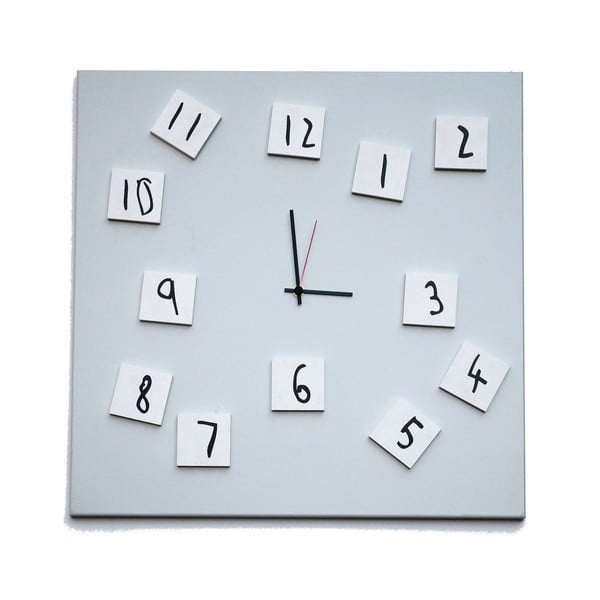 Zegar ścienny dESIGNoBJECT.it Changing Clock White, 50 x 50 cm