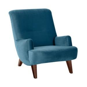 Niebieski fotel z brązowymi nogami Max Winzer Brandford Suede