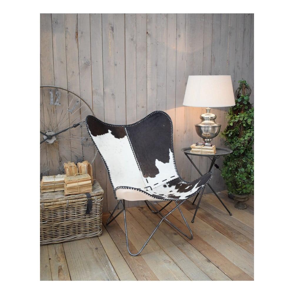 Fotel z obiciem ze skóry wołowej Orchidea Milano Old Factory