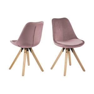 Zestaw 2 różowych krzeseł Actona Damia Velvet