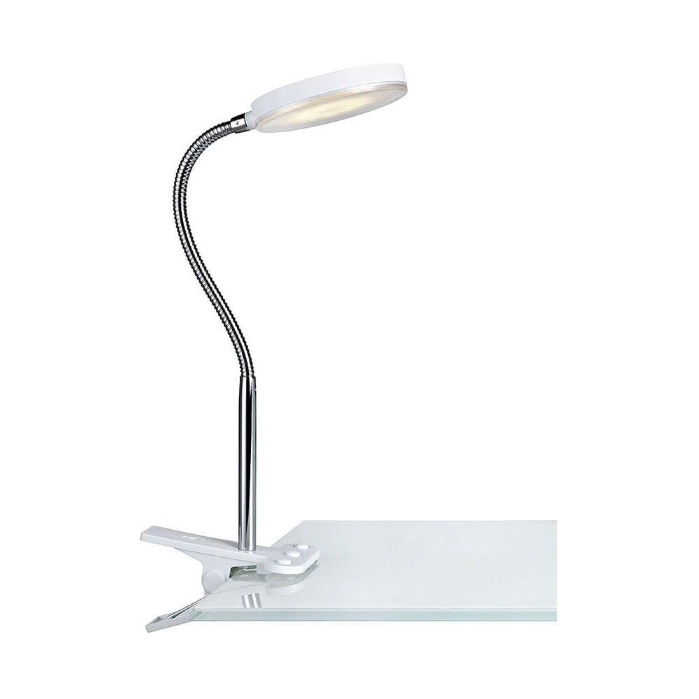 Biała lampa stołowa LED z klipsem Markslöjd Flex