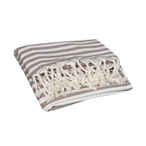 Ręcznik kąpielowy hammam Akasya Beige, 90x190 cm