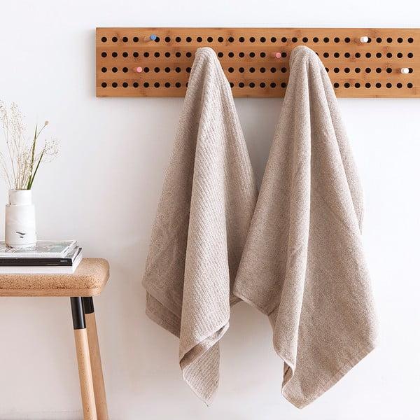 Komplet 2 beżowych ręczników kąpielowych frotte Casa Di Bassi Stripe, 81x160 cm