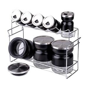 Zestaw 8 pojemników na przyprawy ze stojakiem Steel Lux