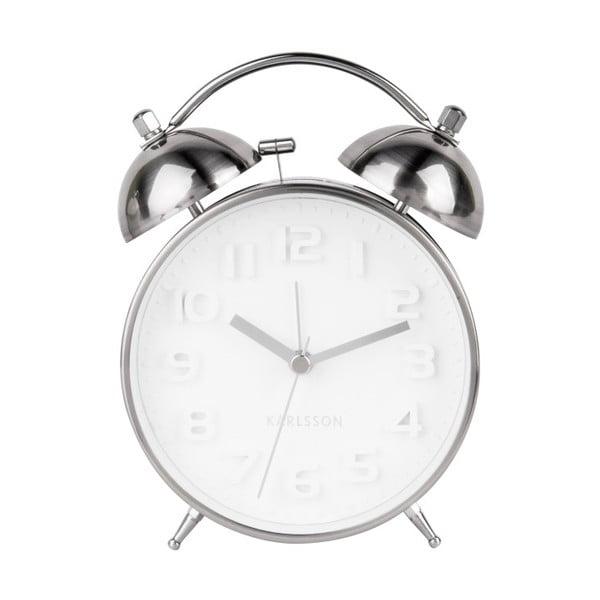 Budzik w kolorze srebra Karlsson Wake Up