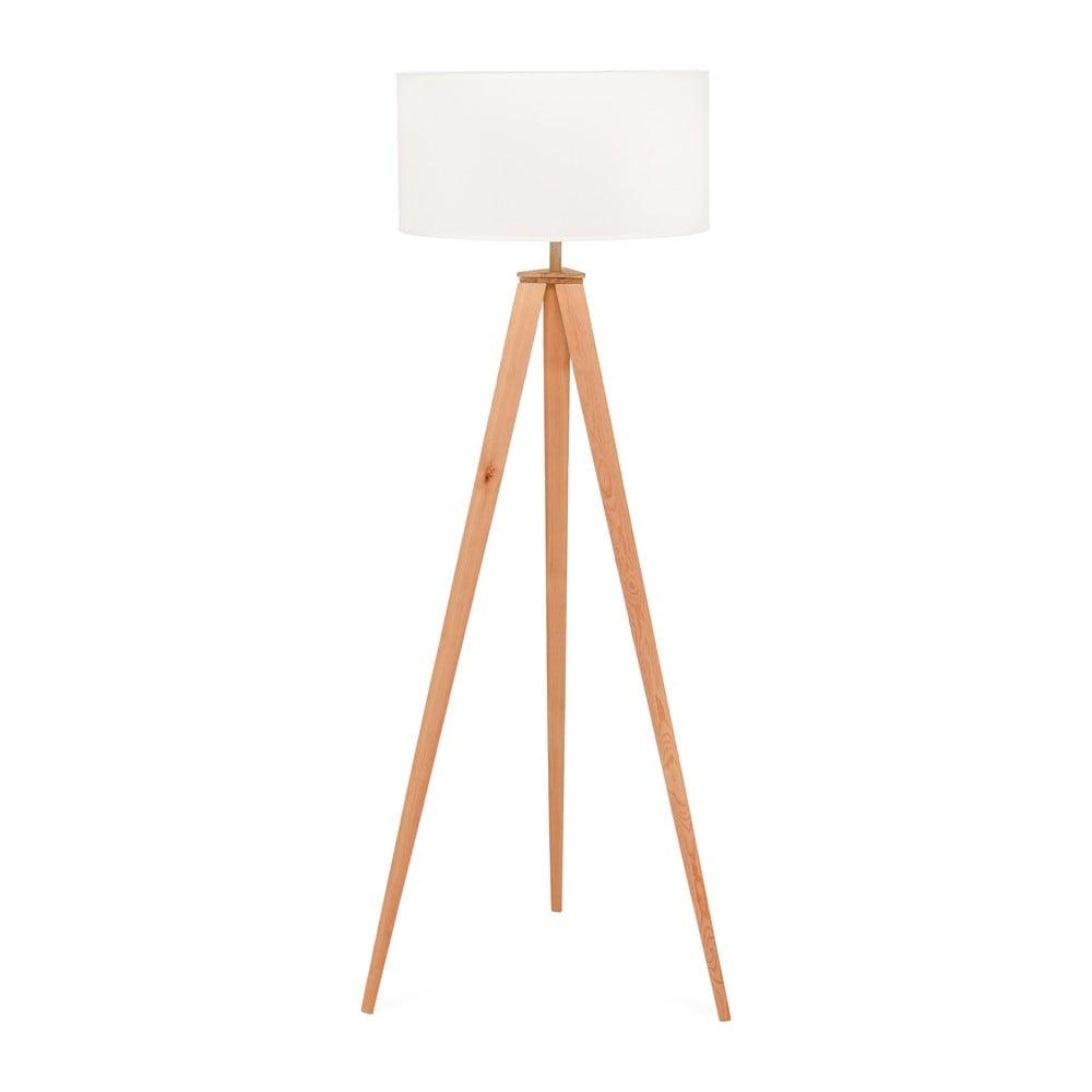 Lampa stojąca z drewnianymi nogami i białym kloszem loomi.design Karol