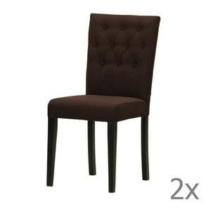 Komplet 2 krzeseł Monako Etna Dark Brown, czarne nóżki