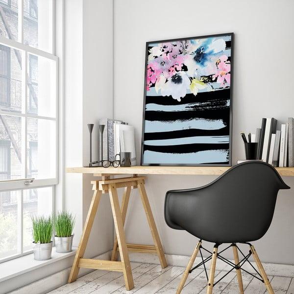 Plakat z kwiatami, czarno-niebieskie tło, 30 x 40 cm