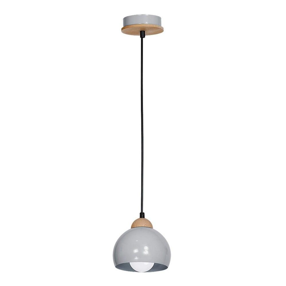 Szara lampa wisząca z drewnianymi detalami Dama Uno