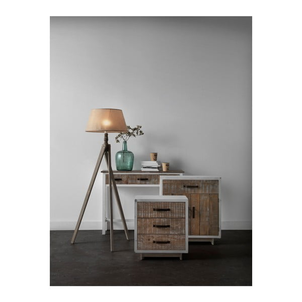 Biała szafka nocna z 2 szufladami Geese Rustic