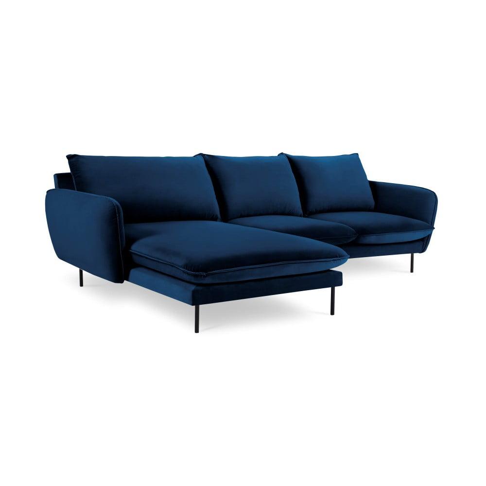 Niebieska narożna aksamitna sofa lewostronna Cosmopolitan Design Vienna