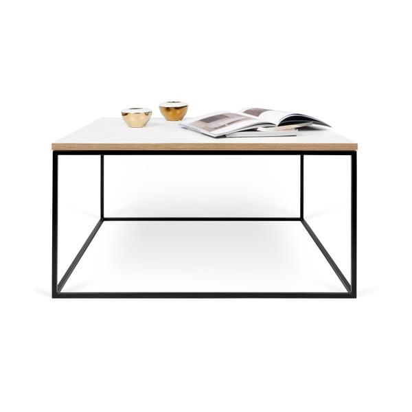 Biały stolik z czarnymi nogami TemaHome Gleam, 75 cm