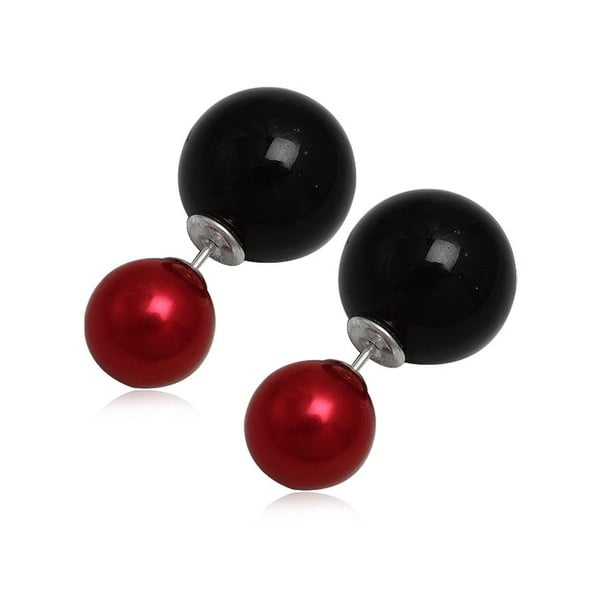 Kolczyki Double Pearl Red and Black