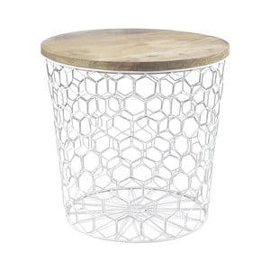 Biały stolik z drewnianym blatem HF Living Mesh