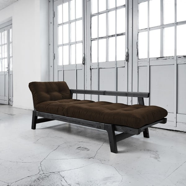 Sofa rozkładana Karup Step Black/Choco Brown