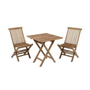 Stół ogrodowy z 2 krzesłami z drewna tekowego Santiago Pons Salvatore