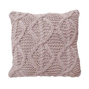 Różowa poduszka dziergana Overseas, 45x45 cm