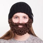 Czarna czapka dziecięca z brązową brodą Beardo Kids Thick