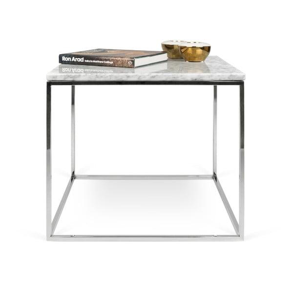 Biały stolik marmurowy z chromowanymi nogami TemaHome Gleam, 50 cm