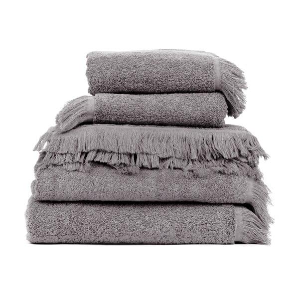 Zestaw 6 szarych ręczników i 2 ręczników kąpielowych Casa Di Bassi Soft
