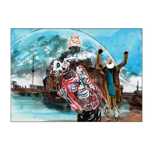 """Plakat autorski Toy Box """"Bóg stoi na moście, śmieje się i widzi jeszcze więcej cieni"""", 60x43 cm"""