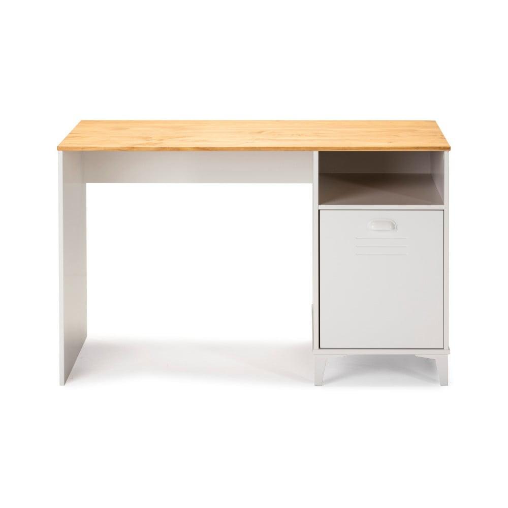 Białe biurko z brązowym blatem Marckeric Zack
