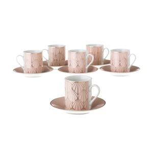Zestaw 6 różowych porcelanowych filiżanek ze spodkami Unimasa Art, 100ml