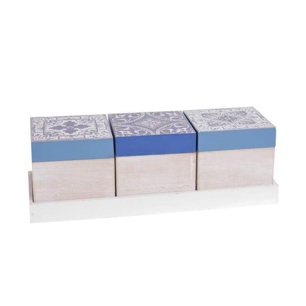 Zestaw 3 drewnianych pudełek InArt Aquamarine, niebieski