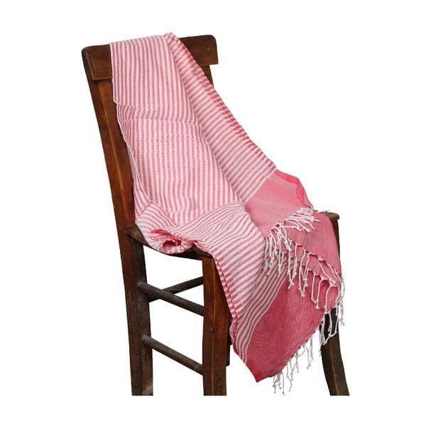 Czerwony ręcznik hammam Hermes Red, 90x190cm
