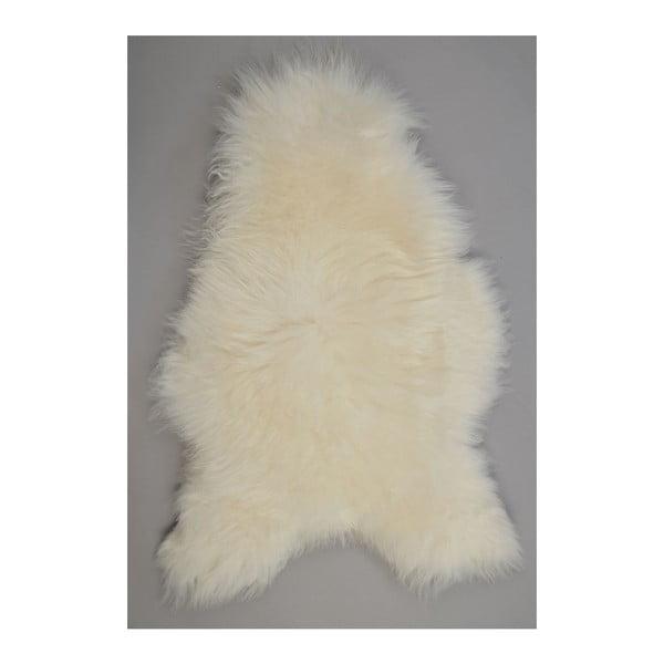 Biała skóra owcza z długim włosiem, 110x60 cm