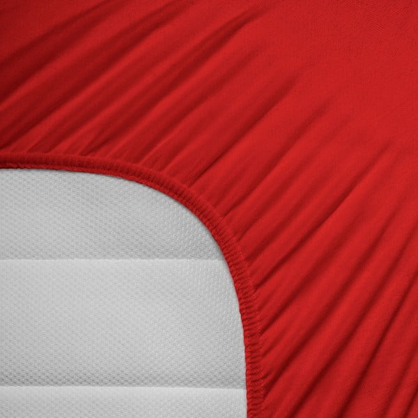 Czerwone prześcieradło elastyczne Homecare, 80-100x200 cm