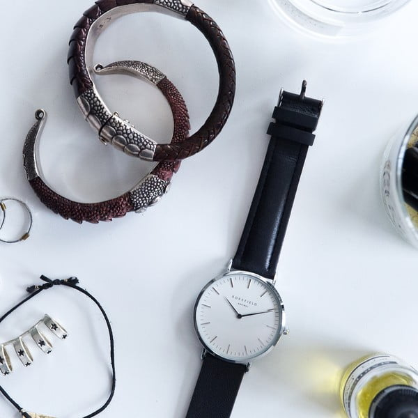 Srebrno-czarny zegarek damski Rosefield The Bowery