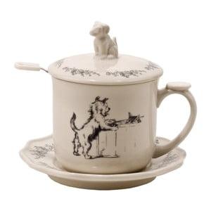 Kubek do herbaty ze spodkiem, pokrywką i łyżeczką Dog
