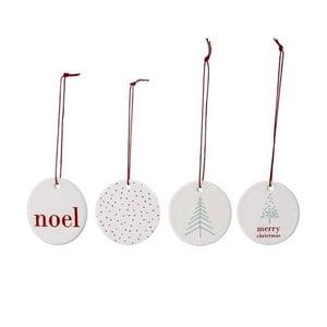 Zestaw 4 wiszących dekoracji świątecznych Bloomingville Noel