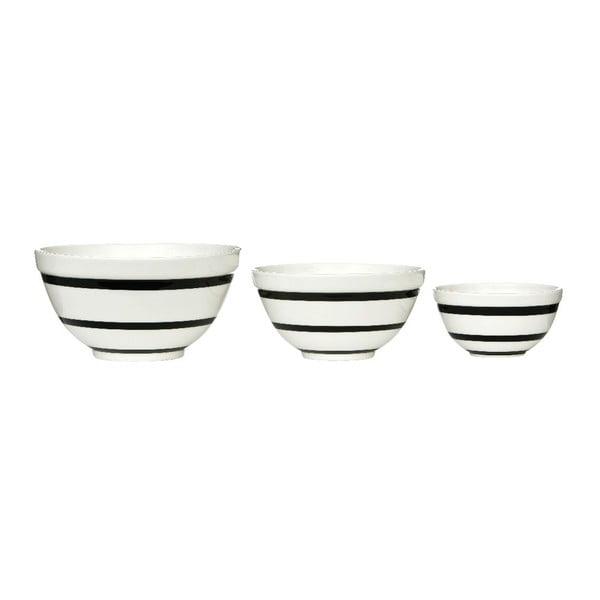 Zestaw 3 ceramicznych misek Black Stripe