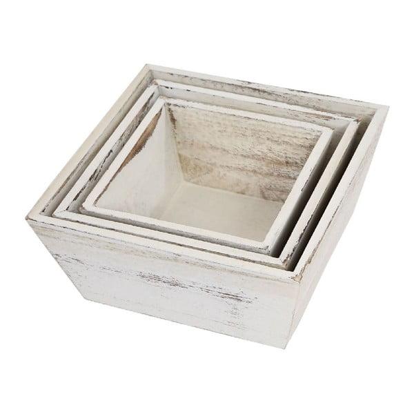 Zestaw 3 drewnianych misek Vintage, biały