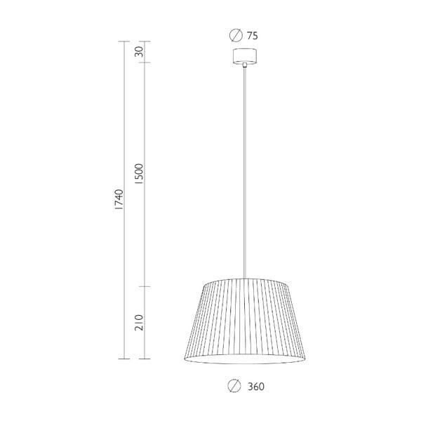 Czarna lampa wisząca z czarnym kablem Sotto Luce Kami, ∅36cm