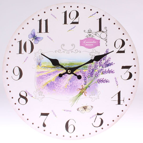 Zegar drewniany Lavender Manor, 34 cm