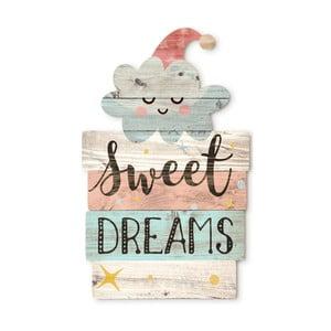 Drewniana dekoracja ścienna Tanuki Sweet Dreams, 30x48 cm