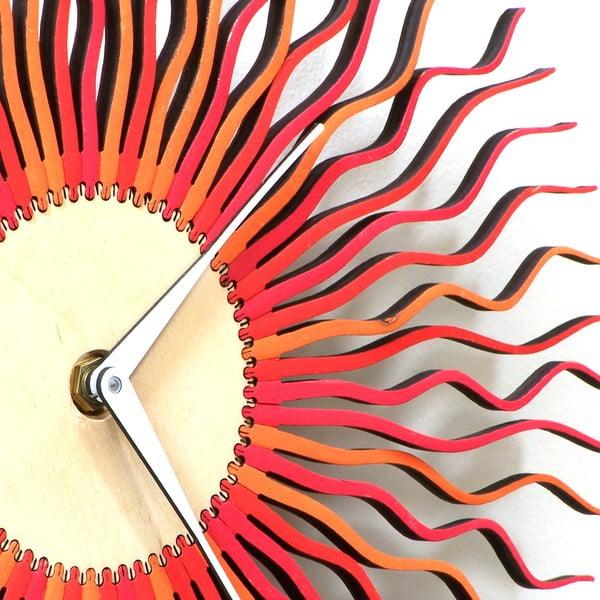 Zegar drewniany Radium, czerwony, 29 cm