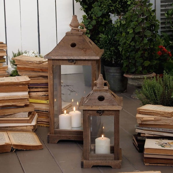 Zestaw 2 lampionów Antique Wood