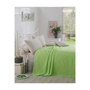 Zielona narzuta na łóżko Kare Orgu, 200x 234 cm