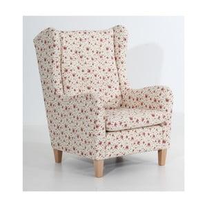 Beżowy fotel w kwiaty Max Winzer Merlon