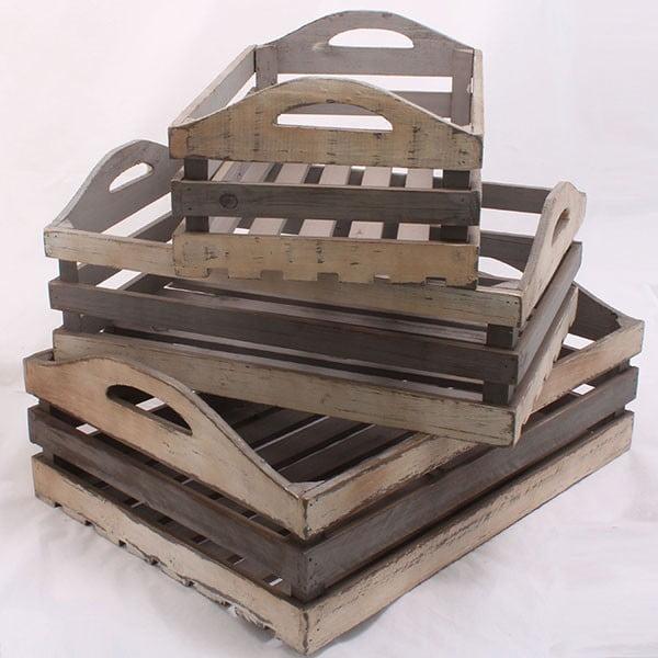 Komplet drewnianych skrzynek, 3 szt