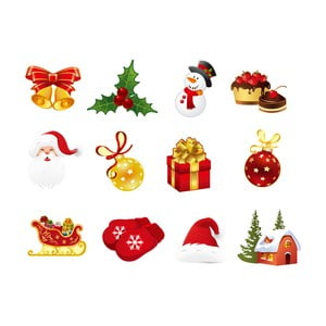 Zestaw 12 naklejek świątecznych Ambiance Christmas decorations