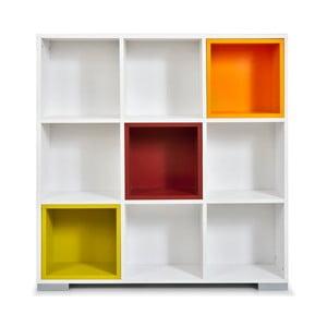 Biblioteczka Domino, białe i kolorowe półki