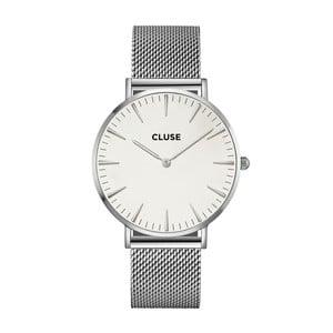 Zegarek damski ze stali nierdzewnej w kolorze srebra z białym cyferblatem Cluse La Bohéme