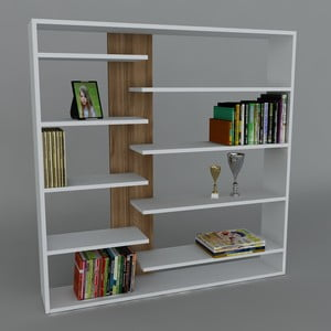 Biblioteczka Handy Book White/Walnut, 22x125x126 cm