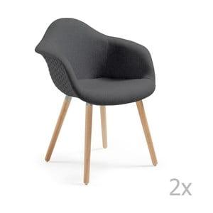 Zestaw 2 ciemnoszarych krzeseł La Forma Kenna
