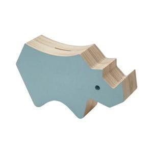 Niebieska skarbonka z drewna Sebra Rhino